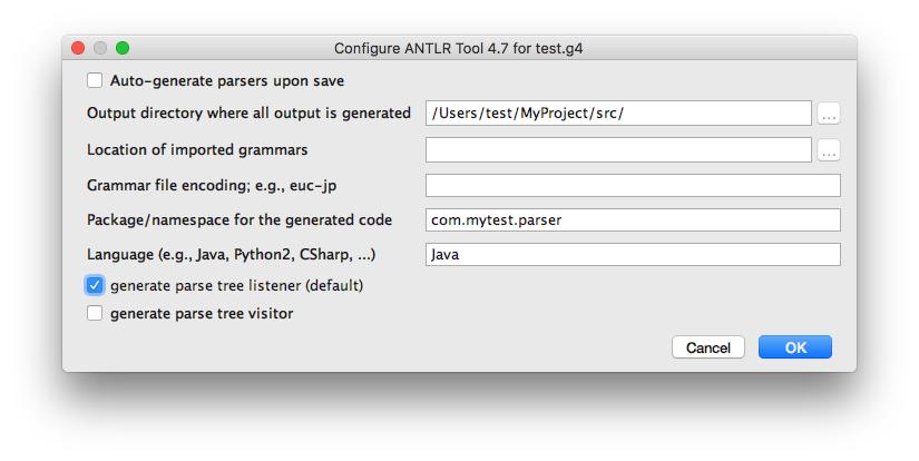 Creating and Testing an ANTLR parser with Intellij IDEA or Android